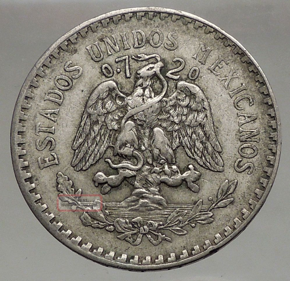 1927 Old 1 Un Peso Silver Mexican Coin Coat Of Arms Of