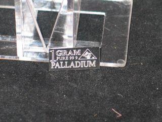 Palladium Bar Precious Metals 1 Gram 999 Pure Acb photo