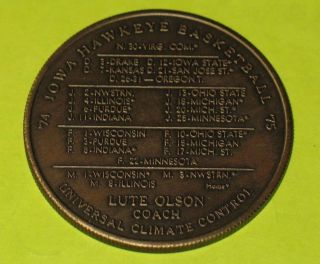 Vintage 1974 University Of Iowa Hawkeyes Football Basketball Schedule Coin Token photo
