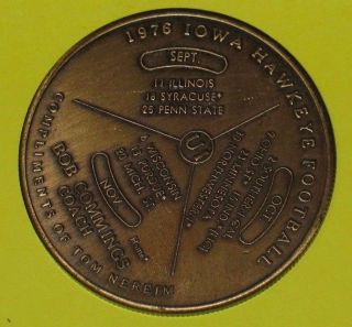 Vintage 1976 University Of Iowa Hawkeyes Football Basketball Schedule Coin Token photo