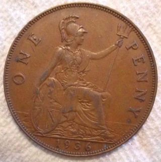 1936 Great Britain Penny Km 838 Bronze Coin photo
