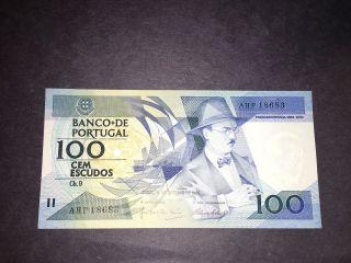 Banco De Portugal $100 Cem Escudos 1986 Banknote photo
