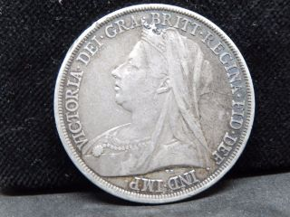 Uk (great Britain) 1 Crown 1893 Victoria Silver Coin (km 783) Vf, photo