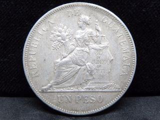 Guatemala 1 Peso 1894,  Silver Crown Size,  Xf photo