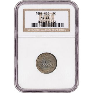 1899 Nicaragua 5 Centavos 5c - Ngc Ms63 photo
