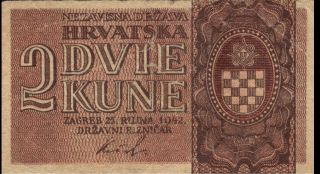 Croatia - 2 Kune - 25.  9.  1942 - P8b (b108a) - Vg, photo