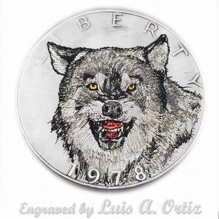 Wolf ' S Growl S838 Ike Hobo Nickel Engraved & Colored By Luis A Ortiz photo