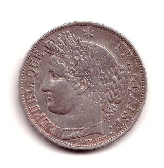 French Coin 5 Francs Silver Cérès.  1850.  Strasbourg.  Grade Vf photo
