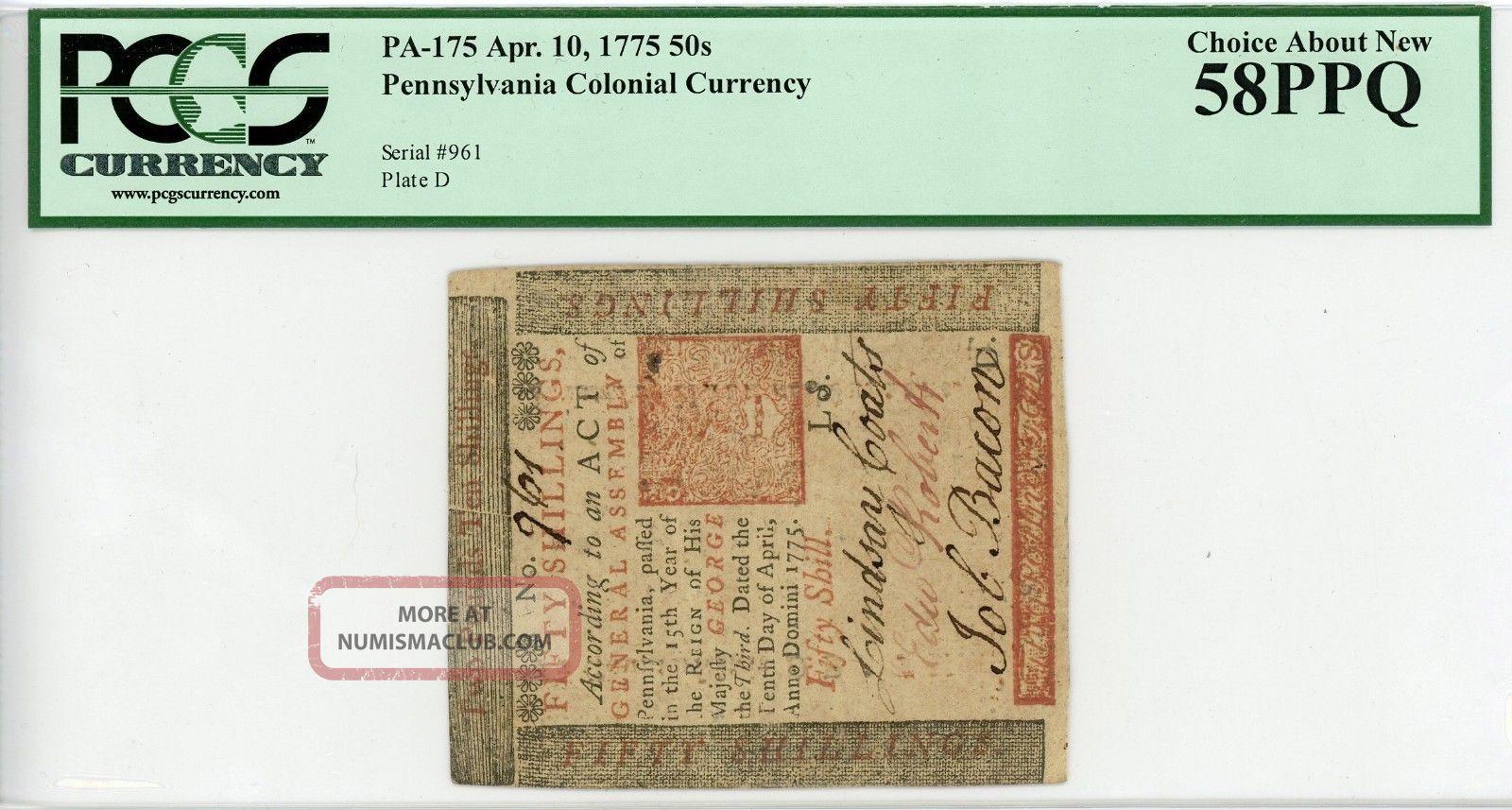 (pa - 175) April 10,  1775 50s Pennsylvania Colonial Currency - Pcgs Ch.  Au 58 Ppq Paper Money: US photo