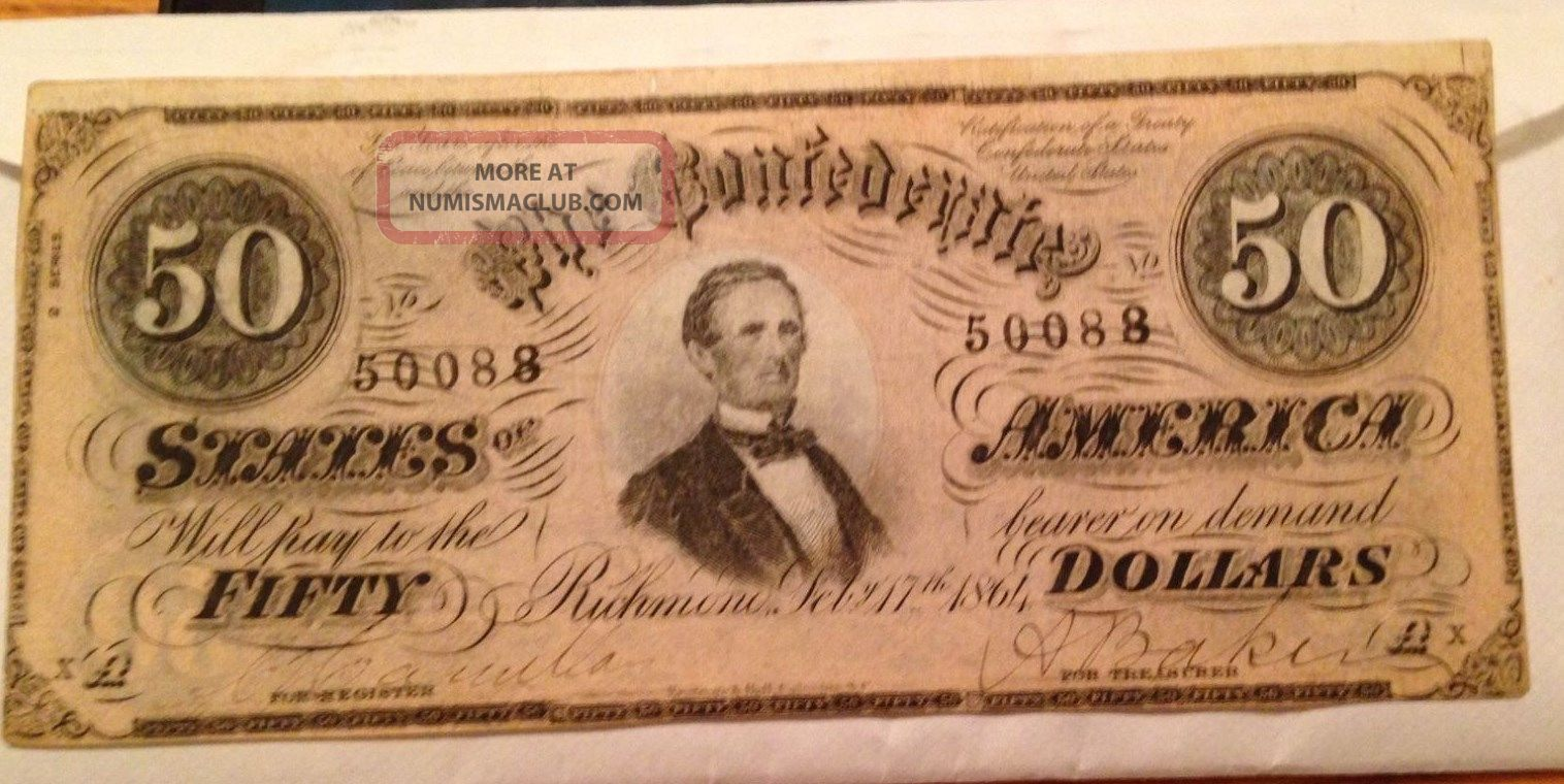 1864 $50 Confederate States Of America Bank Note,  Crisp Paper Money: US photo