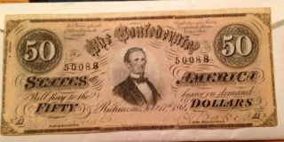 1864 $50 Confederate States Of America Bank Note,  Crisp photo