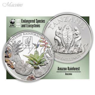 Amazon Rainforest Wwf 2016 Tanzania Cu - Silverplated Coloured Coin photo