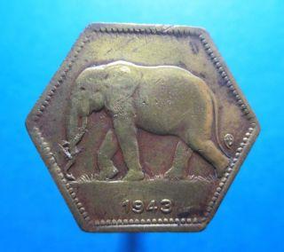 Belgium Congo 2 Francs 1943 Hexagonal Sided Elephant Km 25 R1132 photo