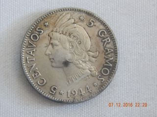1944 Dominican Republic Silver 5 Centavos - 2,  000,  000 Minted - 21 Mm photo
