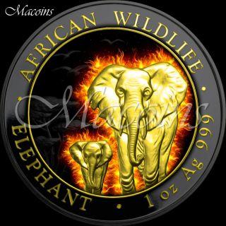 Burning Elephant 2015 Somalia 1 Oz Ruthenium & Gold Plated 999 Silver Coin photo
