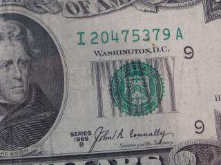 1969 - B $20 Us Frn Note.  Rare I - A Block.  Serial I20475379a.  39 photo