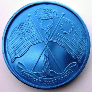 American Bicentennial Flag Token - 1976 Jupiter Blue 10ga Hr Aluminum Doubloon photo