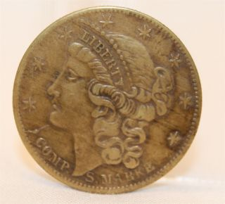 1850 Compositions Spiel Marke Lady Liberty Detail,  Token Coin photo