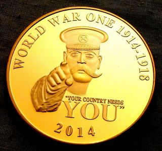 1oz World War 1 Gold Coin Ii Your Country Needs You U Finished In 24k Gold Coin photo
