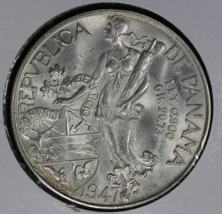 Uncirculated Panama 1947 One Balboa Silver Coin photo