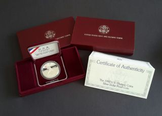 1992 S Us Olympic Baseball $1 Commemorative Proof Coin In Boxes & W/coa photo