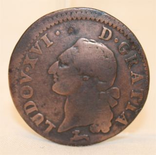 1786 France Louis Xvi Copper Scarce 1 Liard French Colonial Copper Coin photo