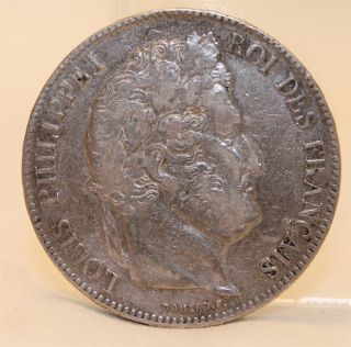 1834 - Bb 5 Francs French France Strasbourg Mark 91 Silver Coin photo