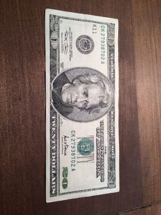 Vary Old 2001 $20 Federal Reserve Note,  Money,  Cash,  Bucks photo
