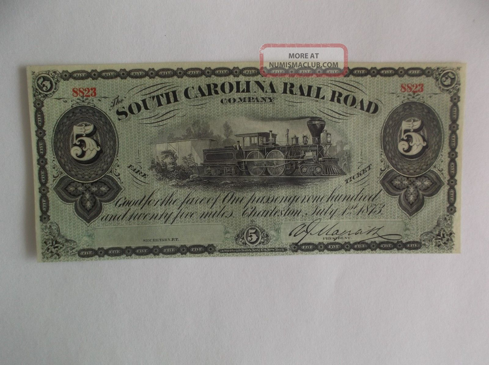 1873 - South Carolina Railroad Company - $5 - Charleston -