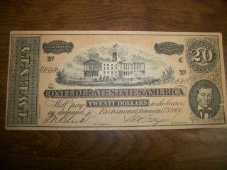 1864 Confederate Twenty Dollar Certificate,  Reprint photo