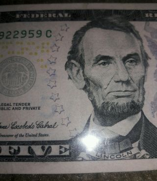 2006 $5 Dollar Federal Reserve Note Insufficient Ink Error