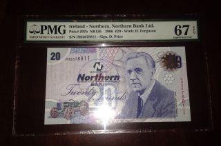 Northern Ireland One Bank Note 20 Pounds 2005 Gem Unc Pmg 67 Epq photo