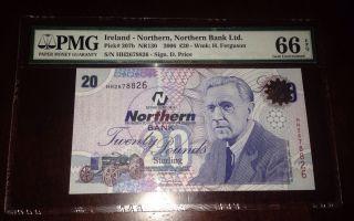 Northern Ireland One Bank Note 20 Pounds 2005 Gem Unc Pmg 66 Epq photo