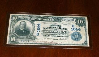 1902 $10 Houston National Currency Fr 617 Serial E510390 photo