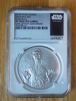 2016 1oz Silver Star Wars Classic - Han Solo - Ngc Pf70 First Strike 2023 photo