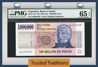 Tt Pk 310 1981 - 83 Argentina 1000000 Pesos Pmg 65 Epq Gem Uncirculated Pop Two photo