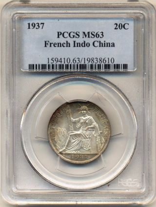 French Indo - China - 1937 Silver 20 Centimes - Pcgs Ms 63 photo