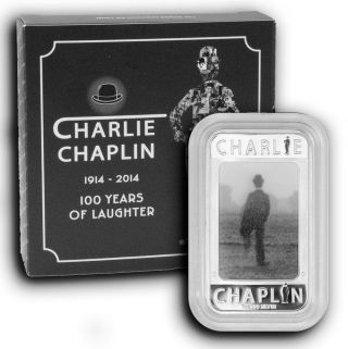 2014 Charlie Chaplain Tuvalu 1 Oz Proof Silver Bar Holographic photo