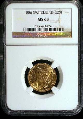 Switzerland 1886 Gold 20 Francs Ngc Ms - 63 Sharp Lustrous Looks Great photo