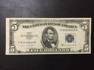 1953 - B Silver Certificate Note - 5 Dollars Note photo