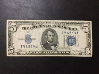 1934 - A Silver Certificate Note - 5 Dollars Note photo
