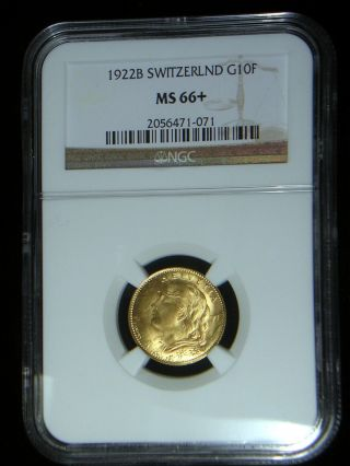 Switzerland 1922 Gold 10 Francs Ngc Ms - 66,  Sharp Lustrous Only 4 Graded Higher photo