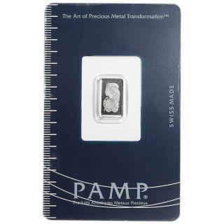 1 Gram Pamp Suisse Palladium Bar.  9995 Fine Fortuna In Assay photo