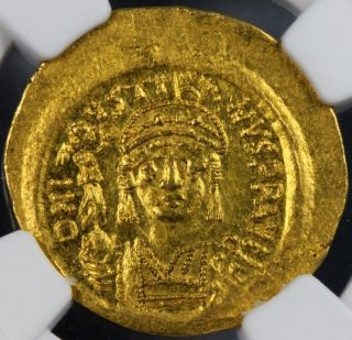 Gold Solidus Ad565 - 578 Justin Ii Uncirculated - Mintstate 5/4 By Ngc. photo