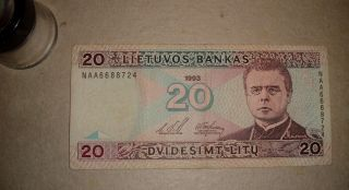 Lithuania 20 Litu 1993 Vf / Naa6688724 photo