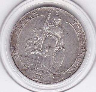 Scarce 1905 King Edward Vii Florin (2/ -) Sterling Silver (92.  5) Coin photo