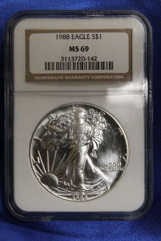 1988 American Silver Eagle S$1 Ase Ngc Ms69 photo