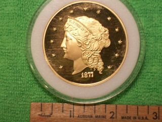 1877 $50 Half Union Proof,  24kt Gold Plated Bronze photo