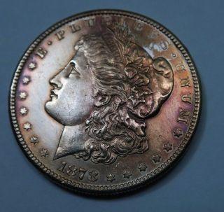 1878 - S Morgan Dollar // Rainbow Toning // (m294) photo