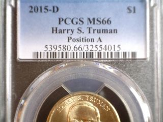 2015 - D Truman Presidential Dollar,  Pos A Pcgs Ms 66,  Uncirculated Business Strike photo